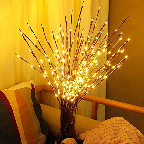 2 Pack Decorative Twig Lights Fairy Lights 20 LED Lights Twig Branches Warm White Decorative Lights Battery Powered Decorative Lights Ideal for Birthday Wedding Bedroom